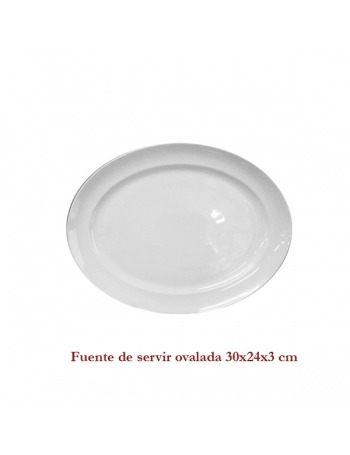 Fuente blanca de servir ovalada 30X24X3