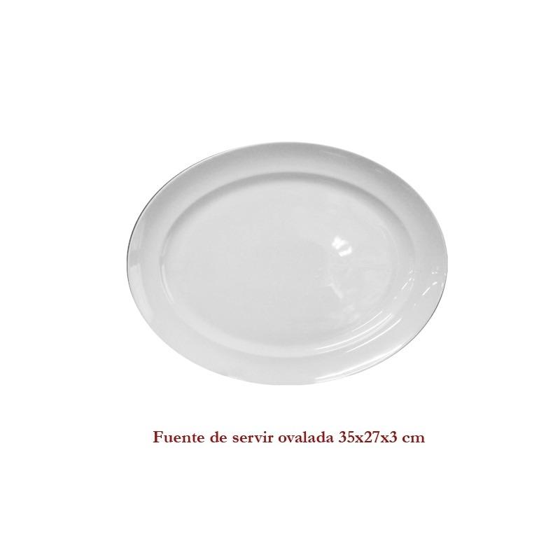 Fuente  blanca de servir ovalada 35X27X3