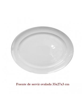 Fuente  blanca de servir ovalada 35X27X3,5