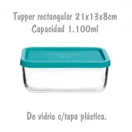 Tupper de Cristal Rectangular de 21x13x8cm 1,1L