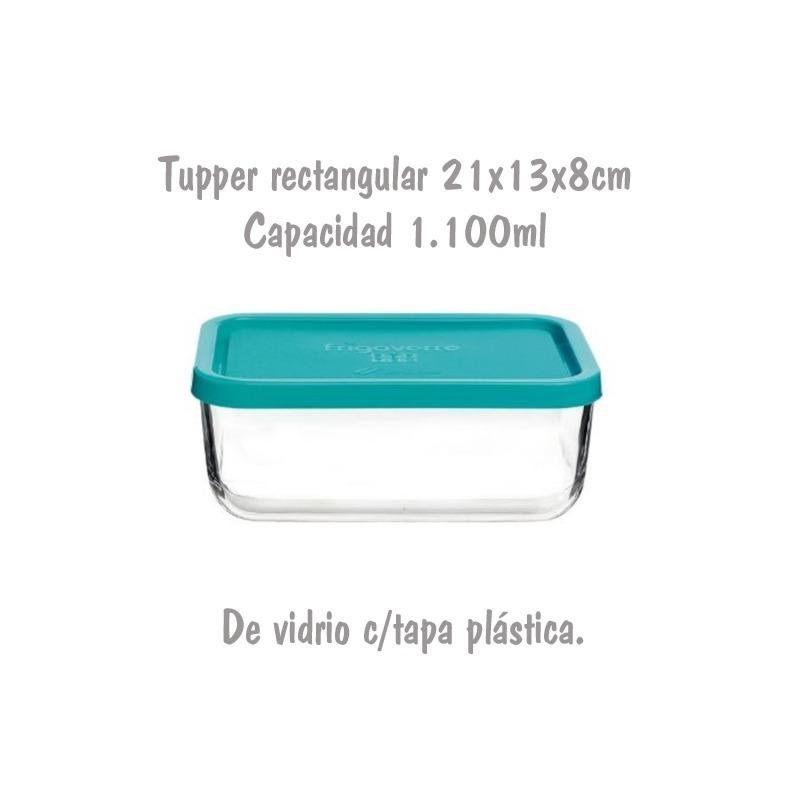 Tupper de Cristal Rectangular de 21x13x8cm 1,1L Bormioli