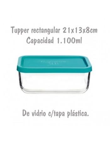 Tupper de Cristal Rectangular de 21x14x8cm 1,1L
