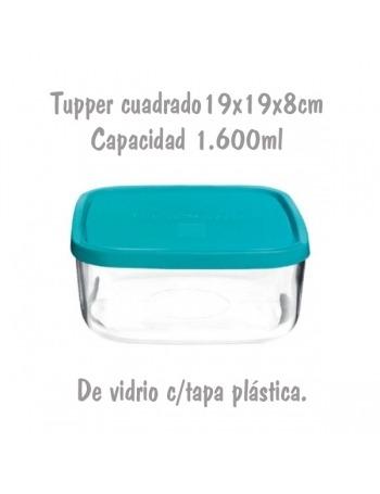 Tupper de Cristal Cuadrado de 19x19x8cm 1,6L