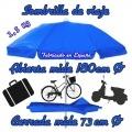 sombrilla de playa para llevar en la bicicleta, en la moto o de viaje