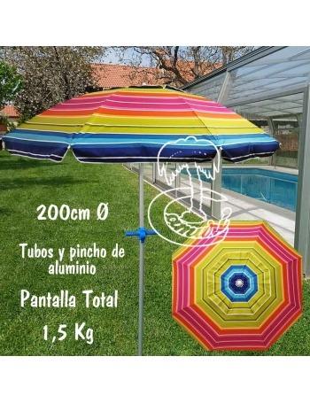 Parasol de Playa Aluminio 200cm con Pincho de Rosca
