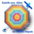 Parasol de Playa Acero 180cm con Pincho de Rosca