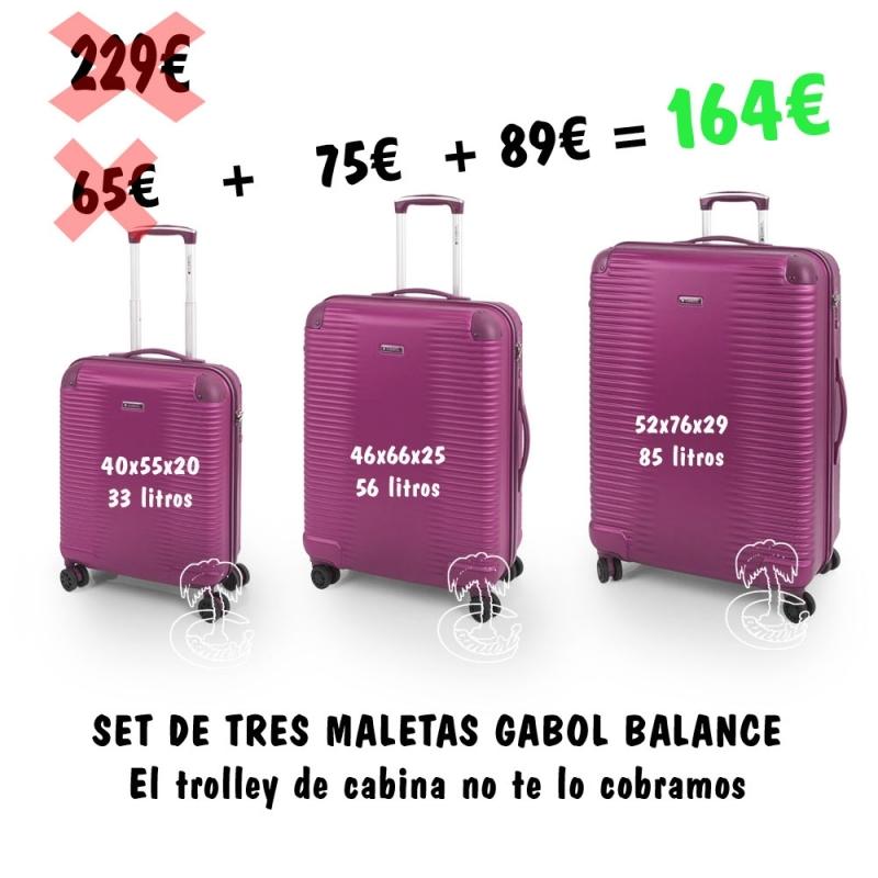 Set de tres Trolleys Gabol Morado