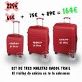 Set de tres Trolleys Gabol Rojo