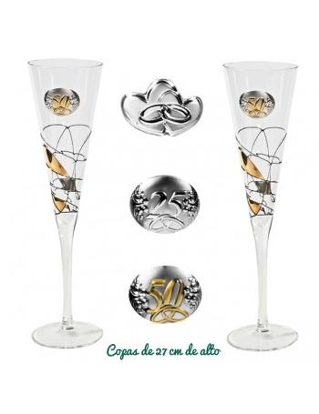 Tú y Yo de Champagne con Bandeja. Oro.