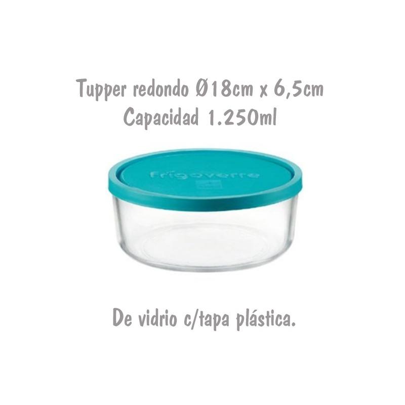 Tupper de Cristal Redondo Ø18cm 1,25L Bormioli