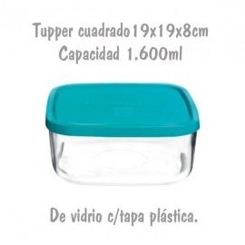 Tupper de Cristal Cuadrado de 19x19x84cm 1,6L Bormioli