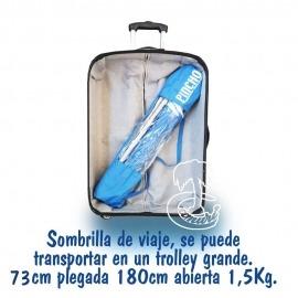 sombrilla de playa para llevar en la maleta, en la moto o de viaje