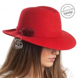 Sombrero Fedora Fieltro Rojo