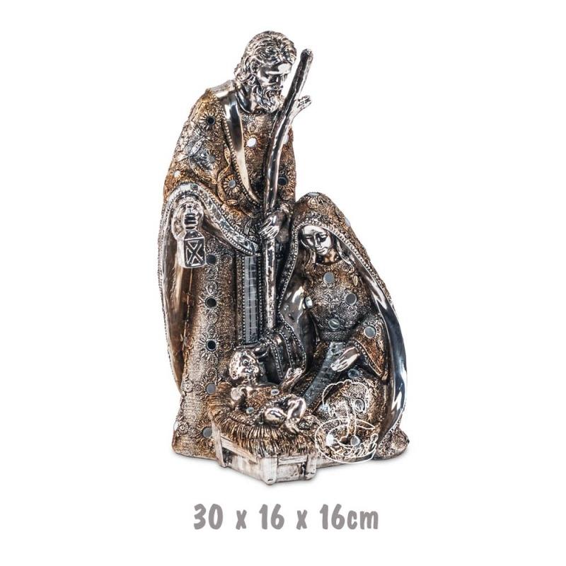 Belén Nacimiento Plateado Dorado 30 cm