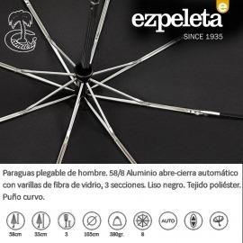 Paraguas Auto Abre Cierra Negro Mango Curvo