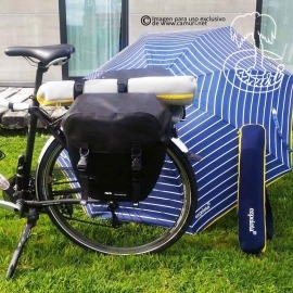 Sombrilla de Playa para llevar de viaje en la bicicleta o en la moto