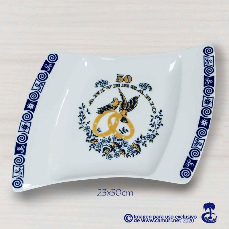 Bandeja de Porcelana para bodas de Oro